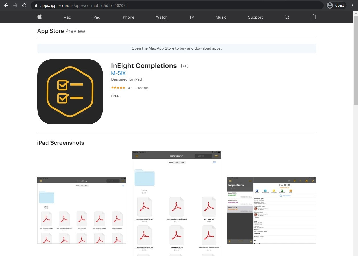 the appstore page of InEight Completions