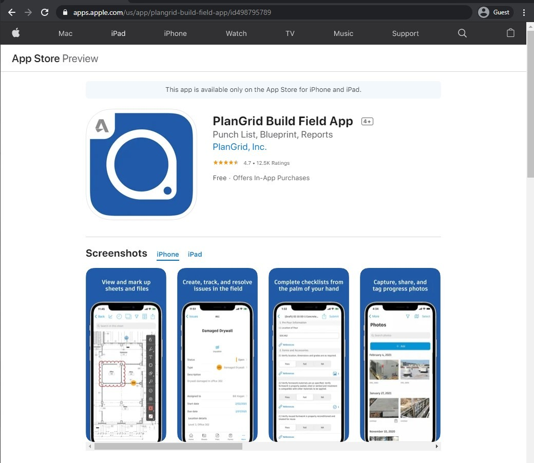 app store page of PlanGrid Build Field